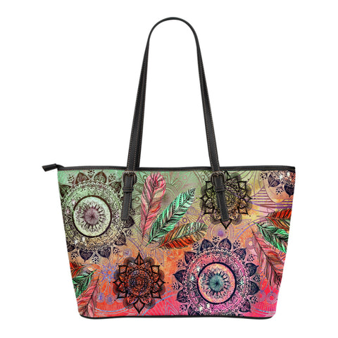 Mandala and Feathers Small Leather Tote Bag