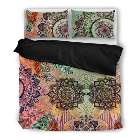 Mandala and Feathers Bedding Set