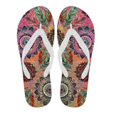 Mandala and Feathers Flip Flops