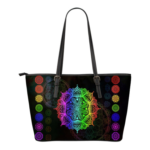 Chakra Wonders Small Leather Tote Bag