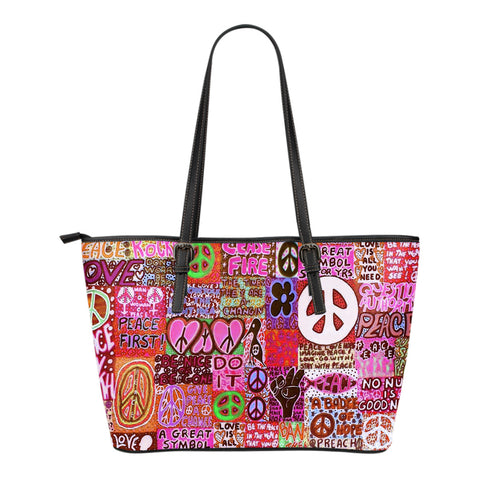 Peace and Love Small Leather Tote Bag