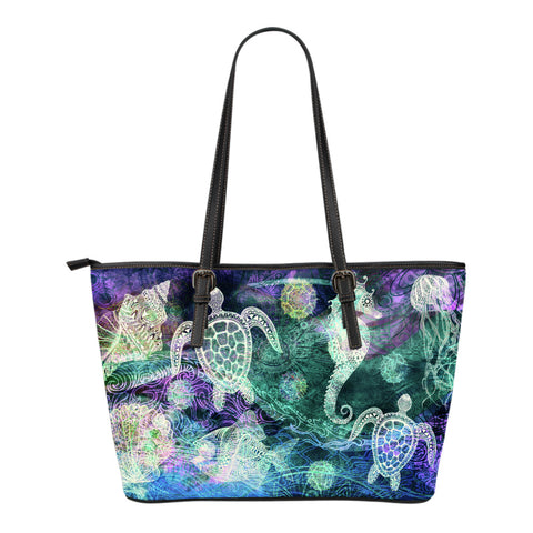 Ocean Breeze Small Leather Tote Bag