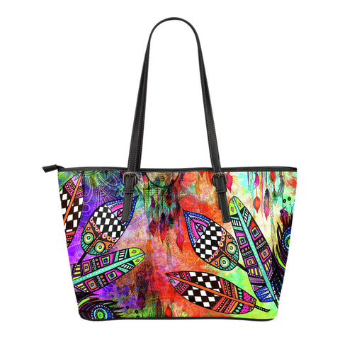Feather Festival Small Leather Tote Bag