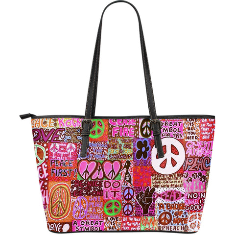 Peace and Love Large Leather Tote Bag