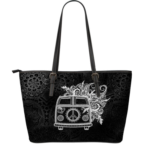 Hippie Adventure Large Leather Tote Bag