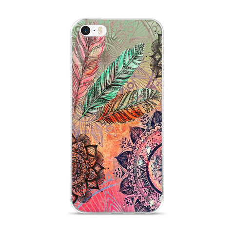 Mandala and Feathers iPhone 5/5s/SE, 6/6s, 6/6s Plus Case
