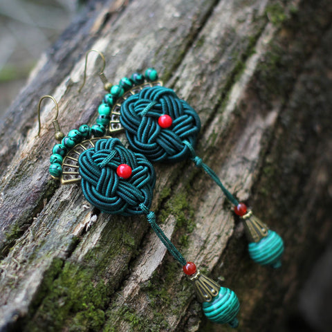 Handmade Knitted Peacock Earrings