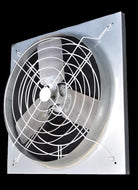 "P/N: 24PG-W1, WIDE SPACED POULTRY PANEL FAN, 24"", GALVANIZED PANEL, WHITE POWDER COATED GUARDS"