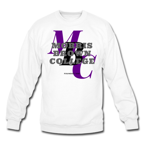 Morris Brown College Classic HBCU Rep U Crewneck Sweatshirt - white