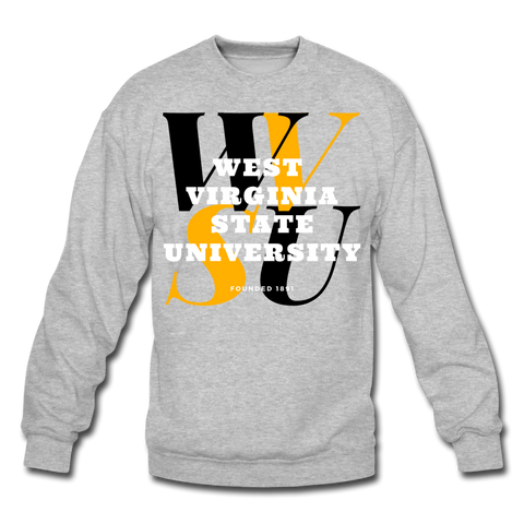 West Virginia State University (WVSU) Classic HBCU Rep U Crewneck Sweatshirt - heather gray