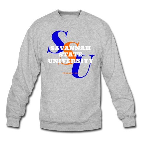 Savannah State University Classic HBCU Rep U Crewneck Sweatshirt - heather gray