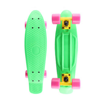 Fluro Green Penny Board with LED Light Up Wheels