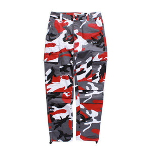 Camouflage Cargo Pants in Red/Grey