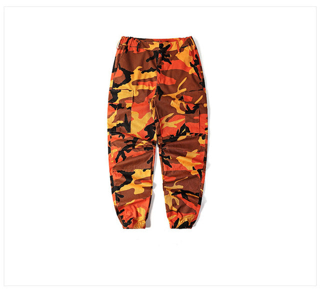 Camo Cargo Trousers in Orange