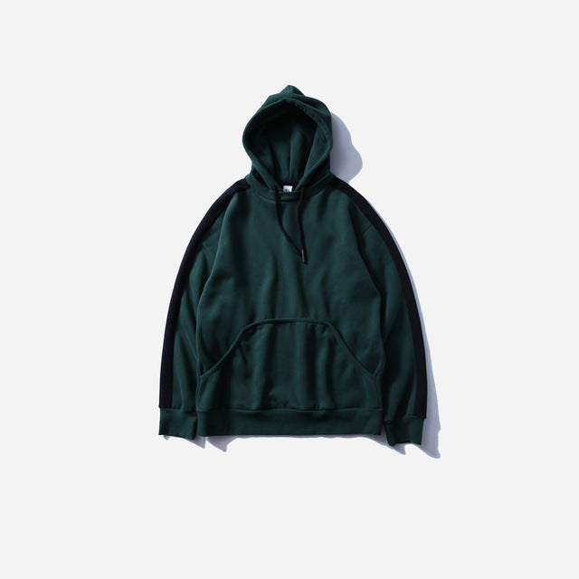 Side Striped Hoodie in Forest Green