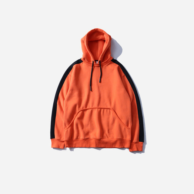 Side Striped Hoodie in Orange