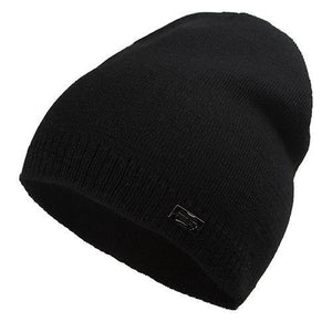 Wool Knit Beanie in Black