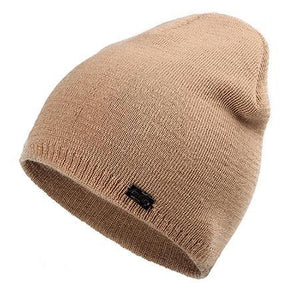 Wool Knit Beanie in Khaki