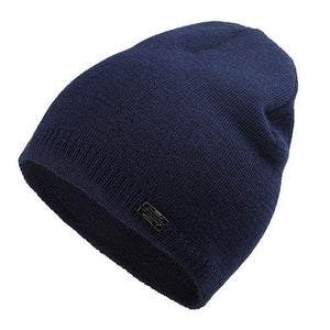 Wool Knit Beanie in Navy Blue
