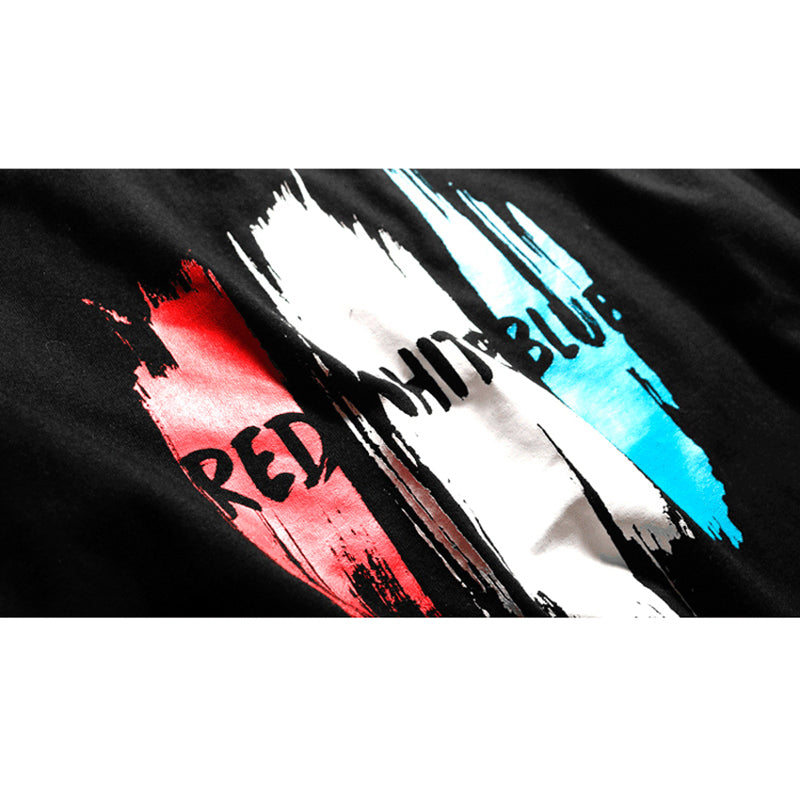 Red White Blue Graphic Tee in Black
