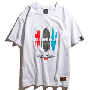 Red White Blue Graphic Tee in White