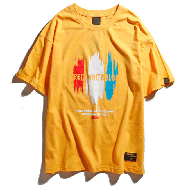 Red White Blue Graphic Tee in Yellow