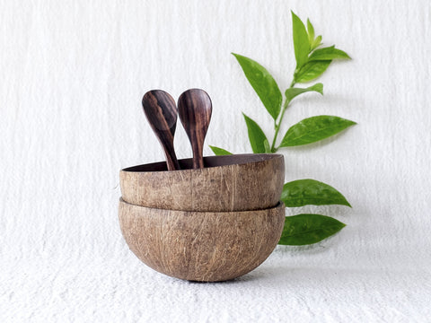 Natural Coconut Bowls & Wooden Spoons : Set of 2