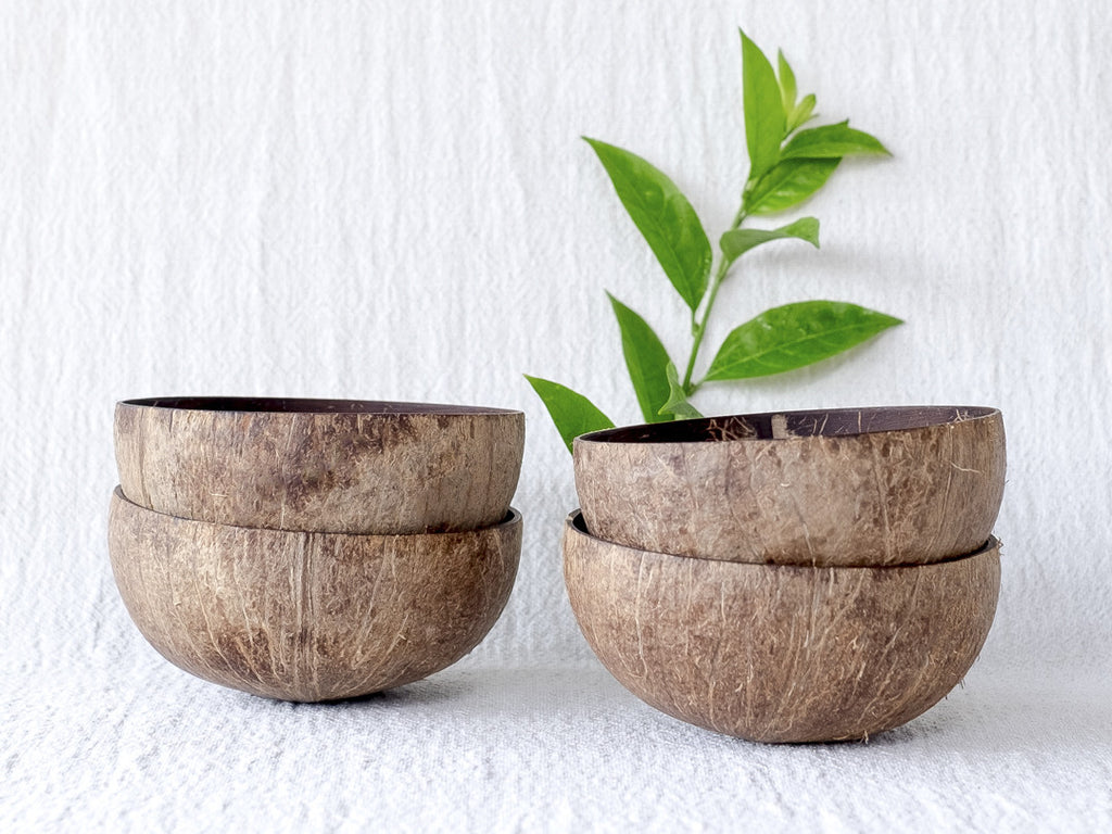 Natural Coconut Bowls : Set of 4