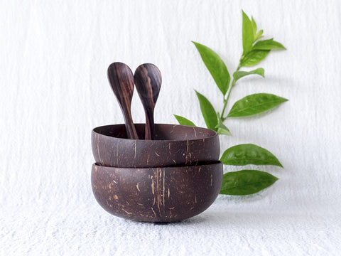 Original Coconut Bowls & Wooden Spoons : Set of 2