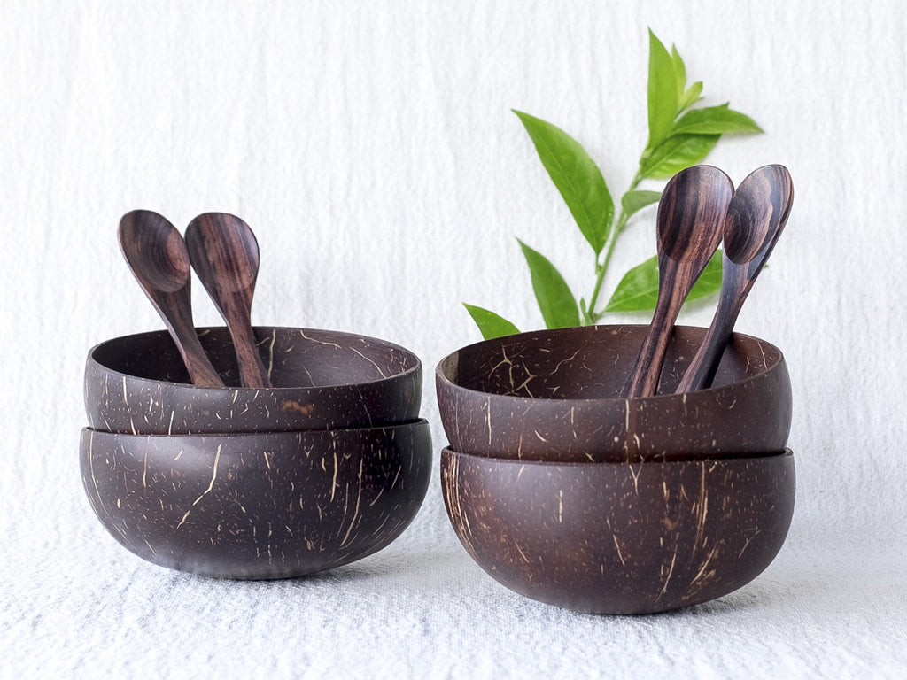 Original Coconut Bowls & Wooden Spoons : Set of 4
