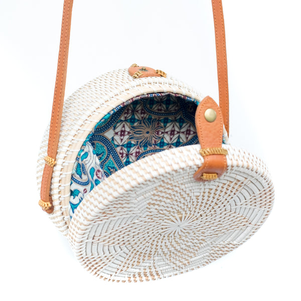White Rattan Bag with Flower Pattern, Leather Button & Genuine Leather Strap