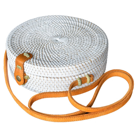 White Rattan Bag with Leather Button & Genuine Leather Strap