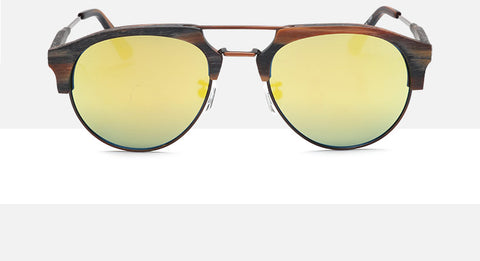 Wally-Bottom Rimless Double Grill Unisex Wood Sunglasses