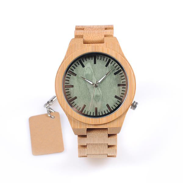 Rayne-Green Face Wood Men Watch