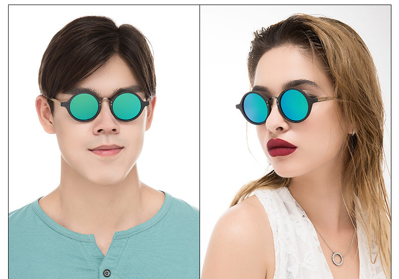 Kai-Round Wood Grain Unisex Sunglasses