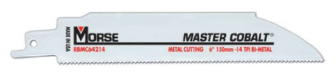 MK Morse RBMC64214T05 Master Cobalt Bimetal Reciprocating Saw Blade, 6-Inch by .042 14TPI, 5-Pack
