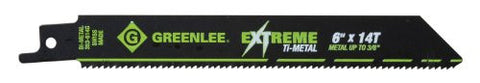 Greenlee 353-614G Ti-Metal Recip Blades, 6 X .75 X .035, 14 TPI, 5-Pack
