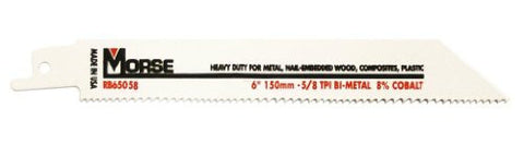 MK Morse RB65058T05 Bimetal Reciprocating Saw Blade, 6-Inch by .050 5/8TPI, 5-Pack