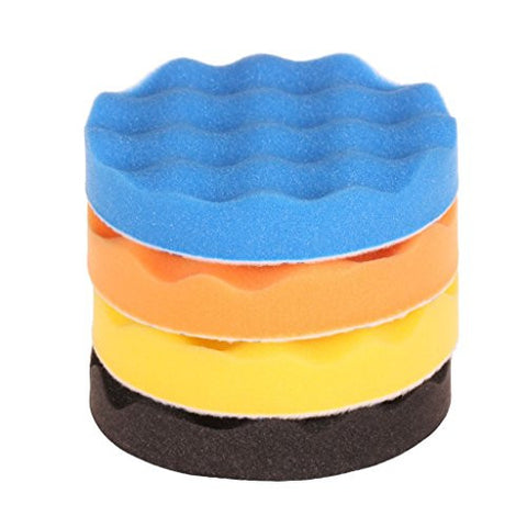 SPTA 7inch (180mm) Waffle Buff Polishing Pad kit For Car Polisher Pack of 4Pcs
