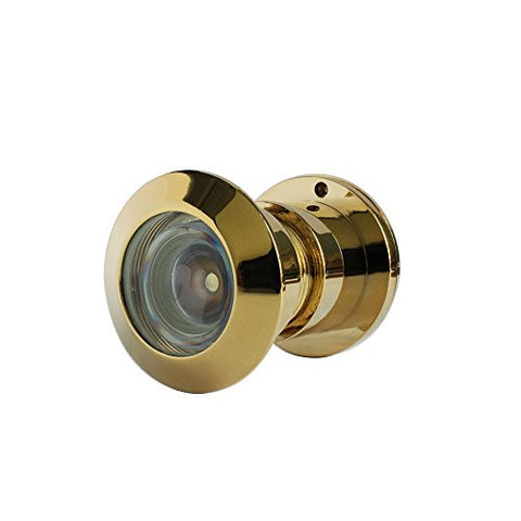 "220-degree Brass Door Viewer with Heavy Duty Privacy Cover for 1-3/10"" to 2-1/10"" Doors, Gold"