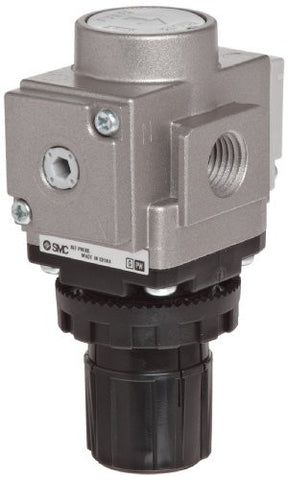 "SMC AR40-N06E-Z Regulator, Relieving Type, 7.25 - 123 psi Set Pressure Range, 106 scfm, Square Embedded Gauge, 3/4"" NPT"