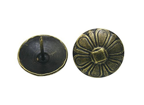"Generic Flower Shape Large-headed Nail 0.9"" Diameter Color Antique Brass Pack of 30"