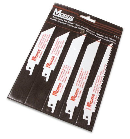 MK Morse RBP01 5 Piece Assortment Bi-Metal Reciprocating Blade Set In Pouch