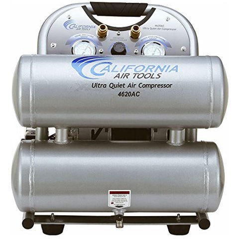 California Air Tools CAT-4620AC-22060 Ultra Quiet & Oil-Free 2.0 hp 4.0 gallon Aluminum Twin Tank Electric Portable Air Compressor, Silver