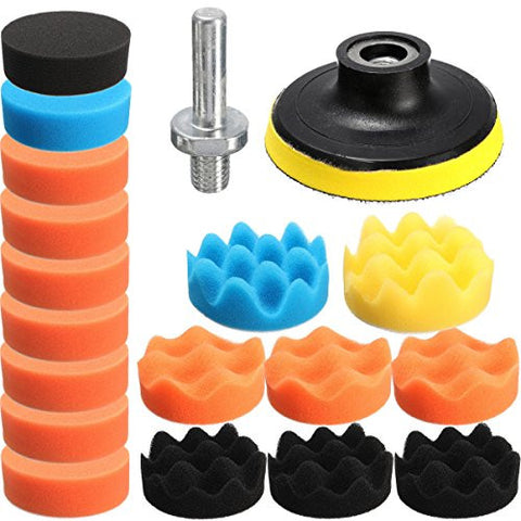 dipshop Drillpro 19PCS 6 Inch Flat Sponge Buff Buffing Pad Polishing Pad Kit Set