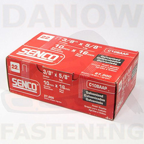 Senco C10BAAP 3/8 Crown 5/8 Leg 22 Gauge Galvanized Staple 27000 Per Box