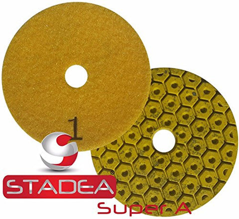 "Stadea PPU102K Diamond Polishing Pad Three 3-Step Wet Dry 4"" Step 1 Pad For Granite Quartz Polishing"