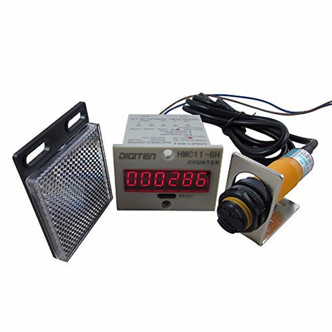 DIGITEN 0-999999 12-24VDC Digital LED Counter +PhotoElectric Switch Sensor +Reflector Automatic Conveyor Belting