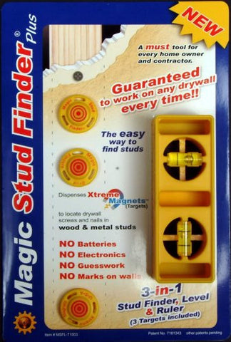Biary Innovations MSFL-T1003 Magic Stud Finder Plus with free Steel Ruler and 3 Targets included
