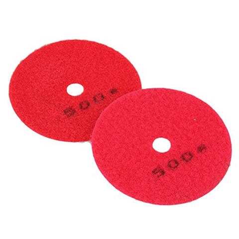 CNBTR 100mm Dia Red Diamond Stone Polishing Pads Disc with 500 Grit for Polisher Process Pack of 2